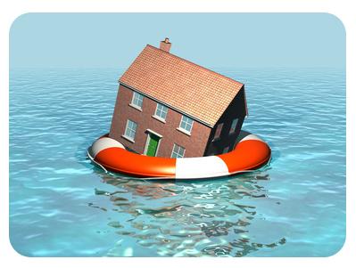 Global warming, house on a lifebelt, rising sea levels, flooding